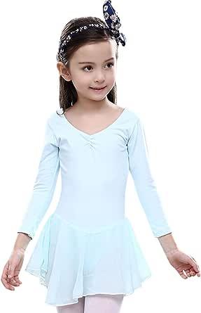 FEOYA Girl Dance Ballet Leotard Dresses Kids Girl Cotton Long Sleeves Tutu Skirt
