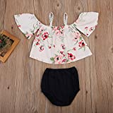 0-2T Baby Girls Summer Outfits Set Floral Off Shoulder Tank Tops + Black Short Pants (White, 6-12 Months)