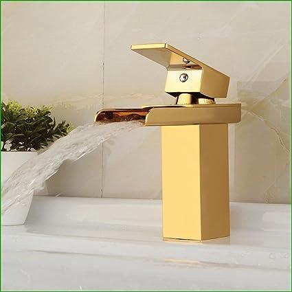 retro - rame oro bagno lavabo di acqua di rubinetto cascata design ...