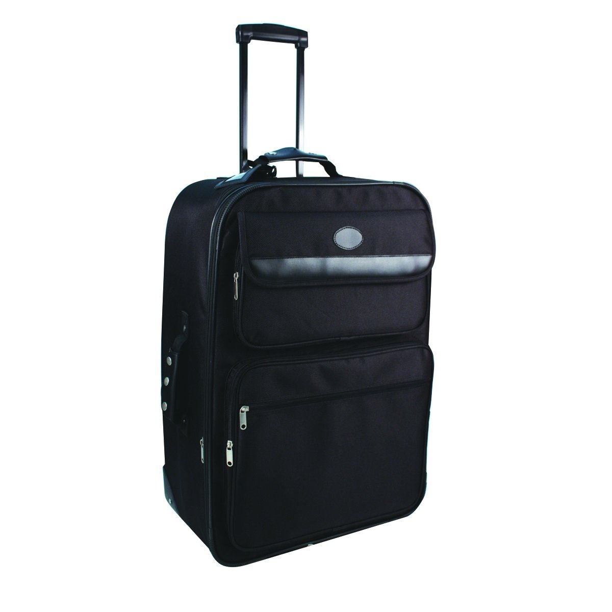 City Lights Expandable Suitcase on Wheels with Telescopic Handle Black