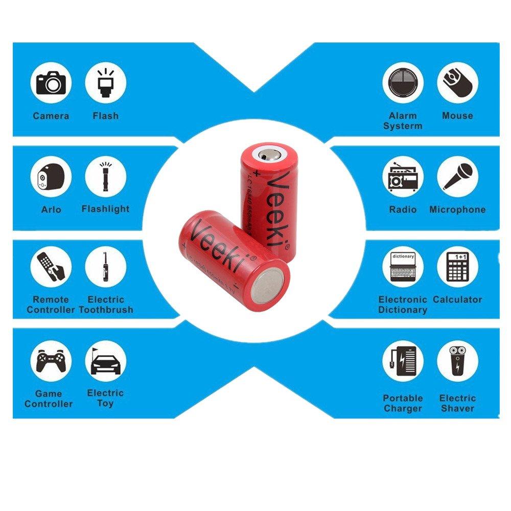 Rechargeable Cr123a Batteries Charger Veeki Rcr123a 37v 650mah Circuit Scribe Conductive Ink Basic Kit Electroninks Cskitbasic Battery Compatible Arlo Vms3030