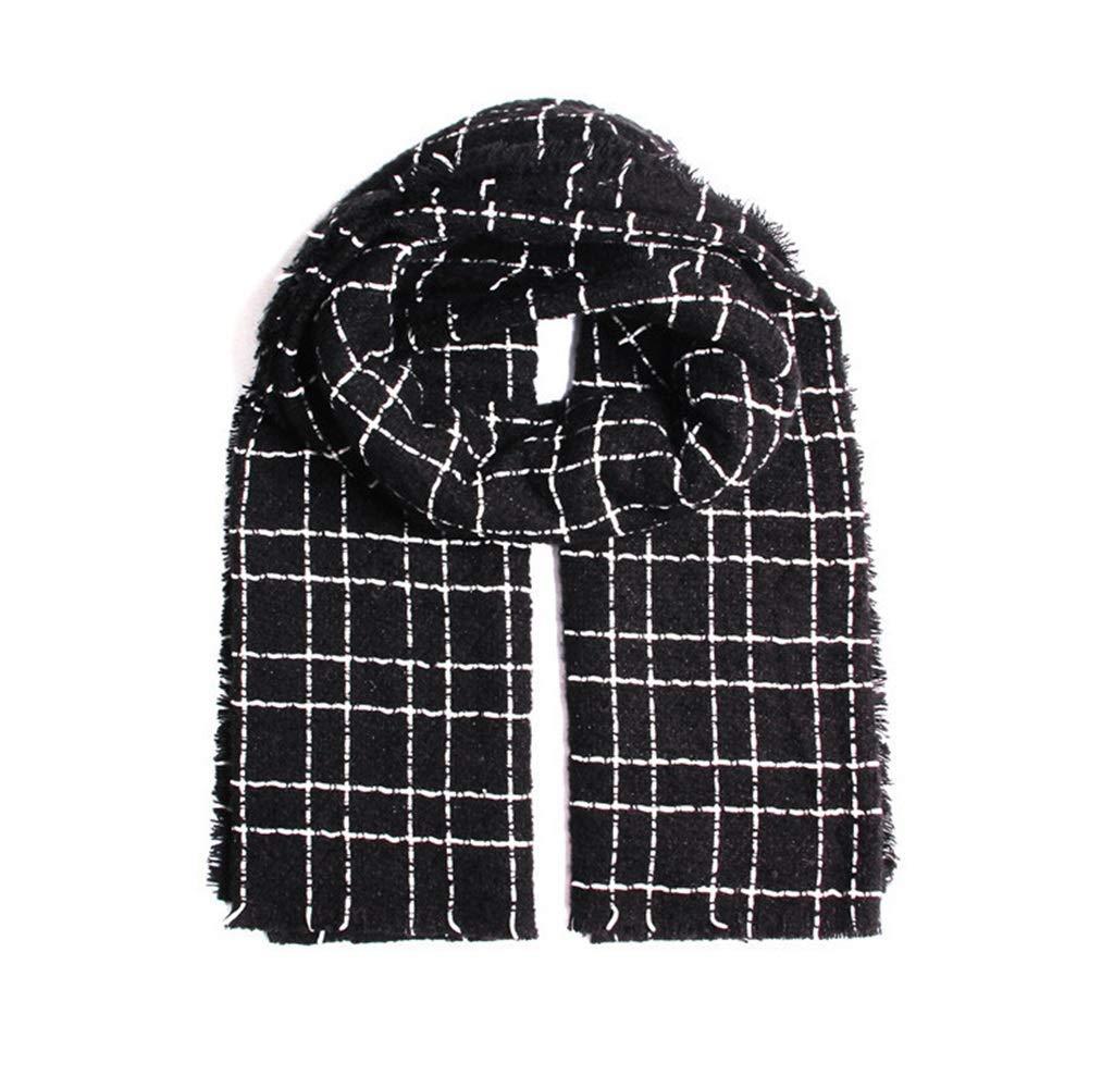 BLACK HATHOR23 Scarf Autumn and Winter New Scarf Cashmere Scarf Female Black and White Plaid Scarf Imitation Cashmere Warm Scarf (color   Black)