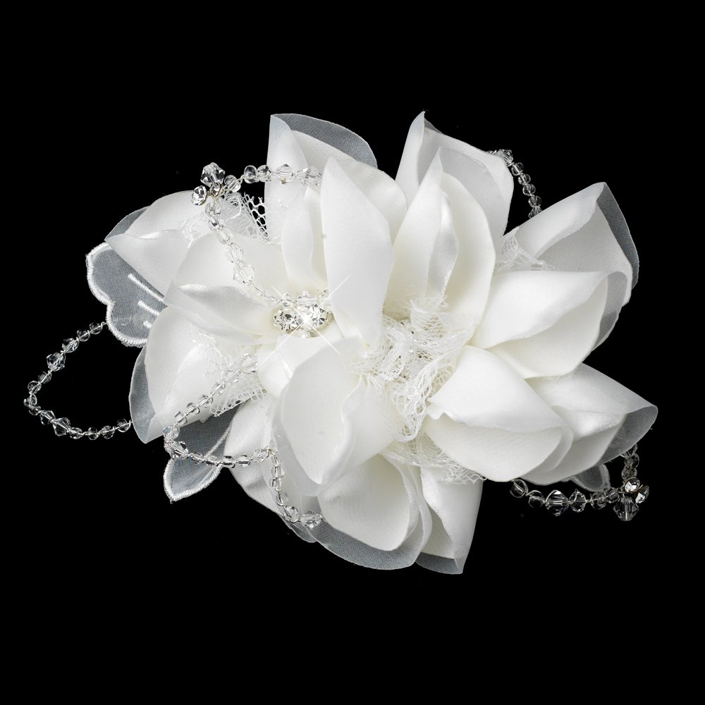 Intricate Flower with Laces of Crystals Wedding Bridal Comb