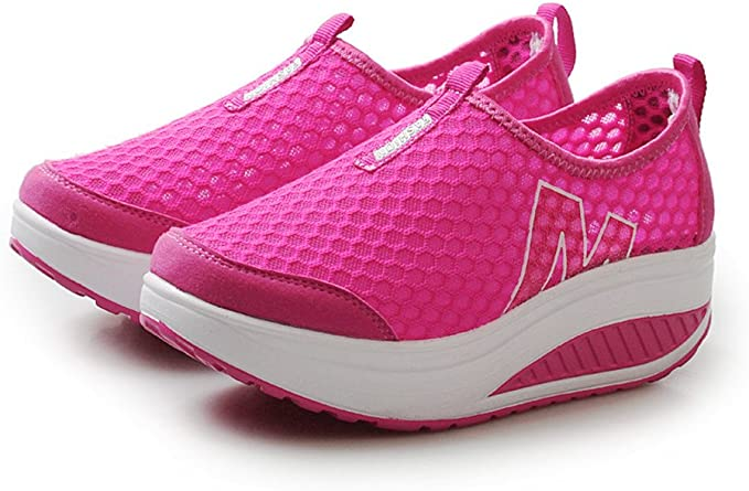 Jorich Mujer Zapatillas Calzado Deportivo Moda Casual Zapatos Deportivo De Exterior De Mujer Zapatillas Plataforma De Tacón De Cuña De Malla Transpirable (Rosa Fuerte, EU:39=Size(CN):40): Amazon.es: Hogar