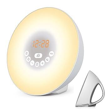 MOSCHE Sunrise Reloj Despertador, Reloj Digital, Wake Up Light con 6 Sonidos de la Naturaleza, Radio FM y Control Táctil (Blanco): Amazon.es: Hogar