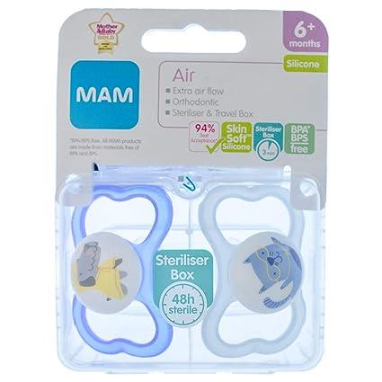 MAM Air: 2 x Chupetes 6m+ (Azul Perro/Gato): Amazon.es: Bebé