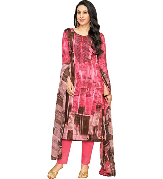 e86c058d67 M F Pink Satin Cotton Printed & Embroidered Unstitched Salwar Suit ...