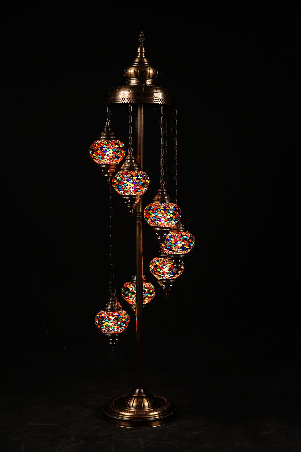 (Height: 55.1 in) Mosaic Standing Floor 7 Globes, Handmade Authentic Tiffany Moroccan Lamp Glass Stunning Bedside Night Lights Brass&Glass Ottoman Turkish Style Modern Mood Lighting for Bedroom