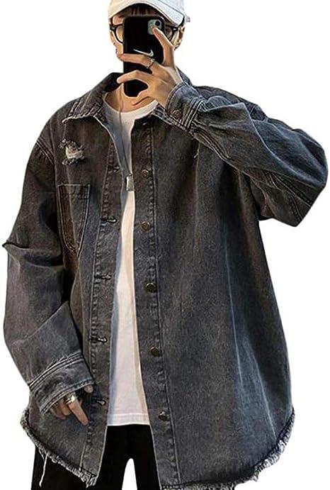 [チューカー]デニムジャケット メンズ ジージャン ダメージ加工 デニム アウター 長袖 ゆったり Gジャン カジュアル ストリート系 ジャケット 春 通勤