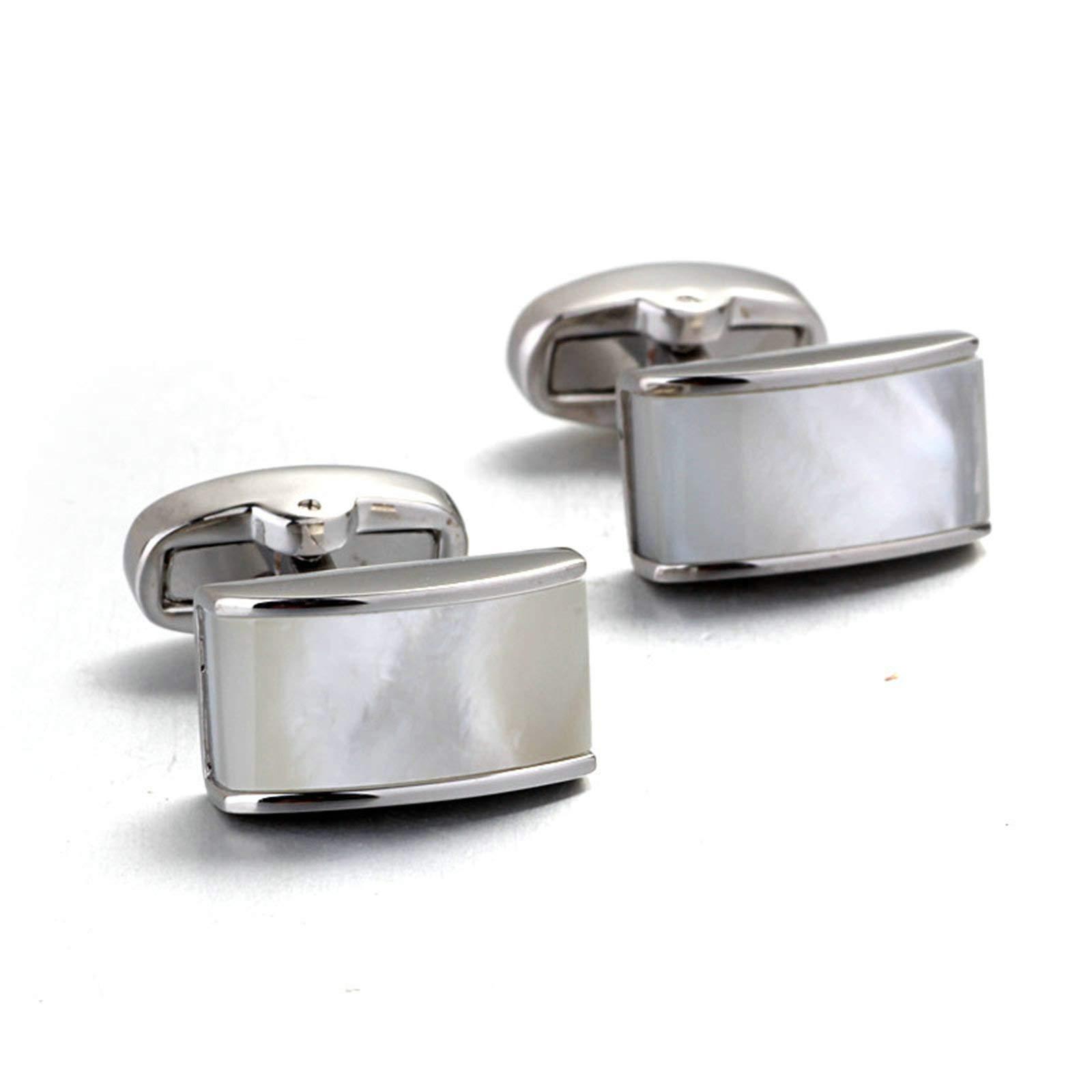 EoCot Shirt Cuff Links Wedding Cufflinks Alloy Silver Rectangle Business Wedding Cufflinks Gift Present