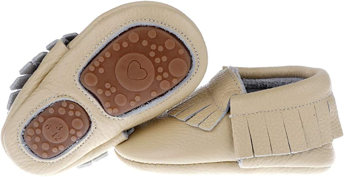 """Pidoli Baby Leather Shoes Unisex Girls Boys Moccasins Rubber Sole (3 US6M 6-12Month 5.11"""" Toddler, Cream)"""