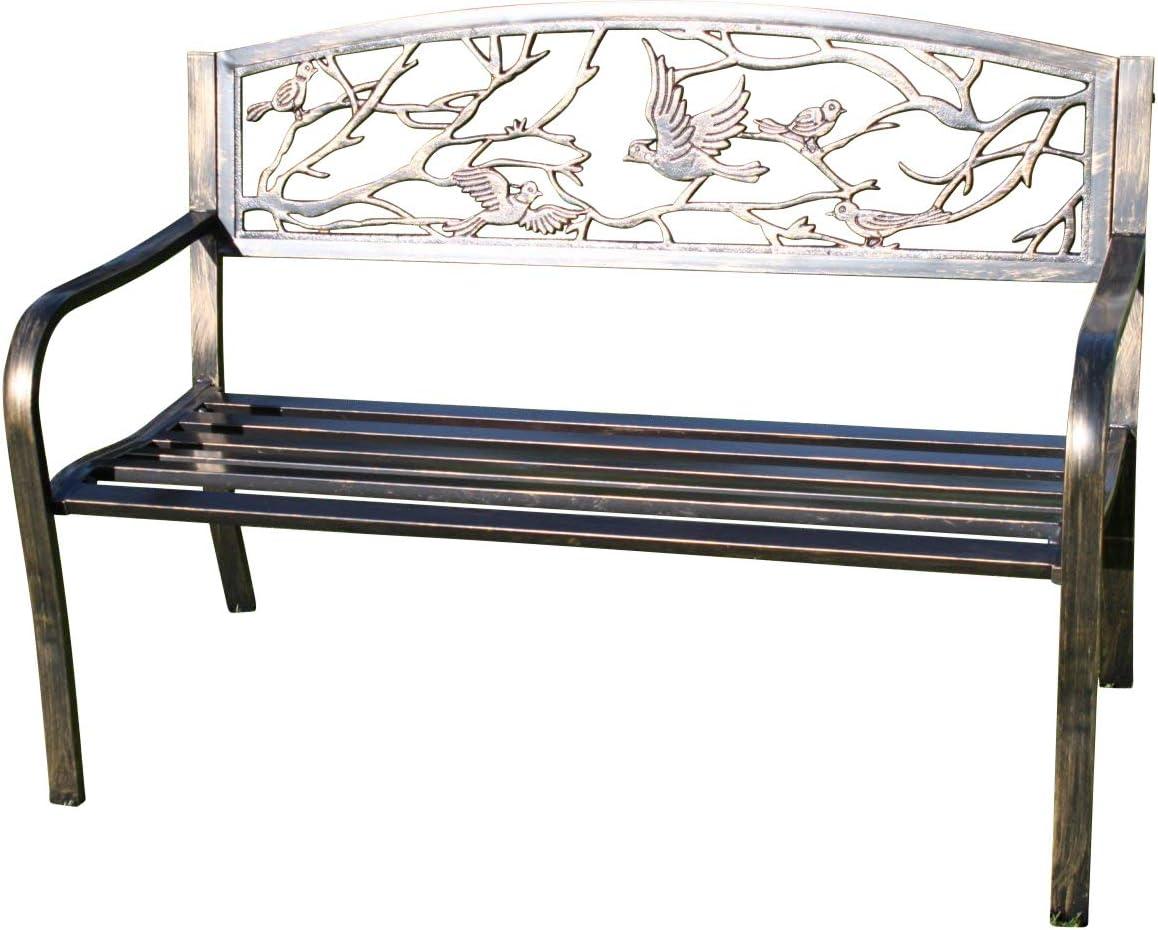Banco de jardín de metal con diseño de pájaros, fabricado de hierro fundido