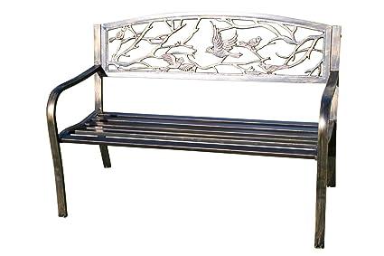 Panchine Da Giardino In Metallo.Olive Grove Panchina Da Giardino In Metallo Con Uccelli In Ghisa