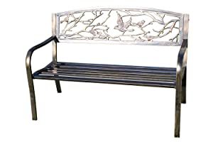 Olive Grove Panchina da Giardino in Metallo con Uccelli in ghisa 'Design' Schienale