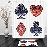 Vipsung Shower Curtain And Ground MatDiamond Decor Collection Diamond Shaped Cards Poker Face Luxury Fortune Symbols Sapphire Decor Dark Blue RedShower Curtain Set with Bath Mats Rugs