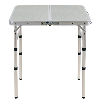CAMPMOON Small Folding Camping Table 2 Foot, Lightweight Portable Aluminum Folding Table with Adjustable Legs, Great for Outdoor Cooking Picnic, White 3 Heights: Kitchen & Dining