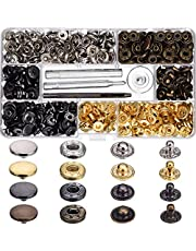 Snap Fastener Kit 100 Sets 4 color Metal Button Press Studs with Fixing Tools for Clothing Leather Bracelet Jeans Wearing Jacket Bags Belts (100 Sets snap fasteners)