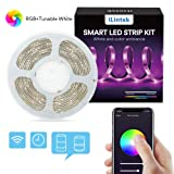WiFi LED Strip Lights, Lumary 9.6ft RGBWW Waterproof Wireless Smart Phone App Controlled Light Strip Kit, Amazon Alexa Google Assistant IFTTT Control Led Strip Lights (RGB+Tunable White 16.4ft) (Color: Multicolor, Tamaño: RGB+Tunable White 16.4ft)