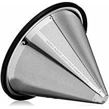 POUR OVER COFFEE FILTER - Reusable Stainless Steel Coffee Filter Cone for Chemex, Hario V60, and Other Pour Over Coffee Makers