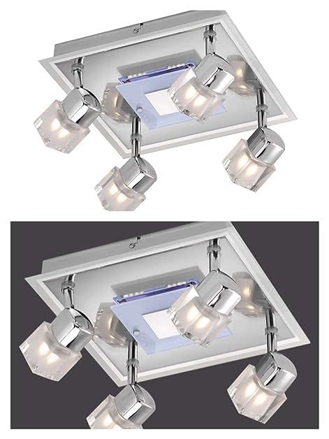 Deckenstrahler 4 Flammig Mit LED Board Decken Spot Deckenlampe Bewegliche Spots Strahler Flur Lampe Deckenleuchte