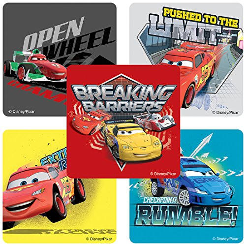 SmileMakers Disney Cars: Speed Circuit Stickers - Birthday and Theme Party Favors - 100 Per Pack ()
