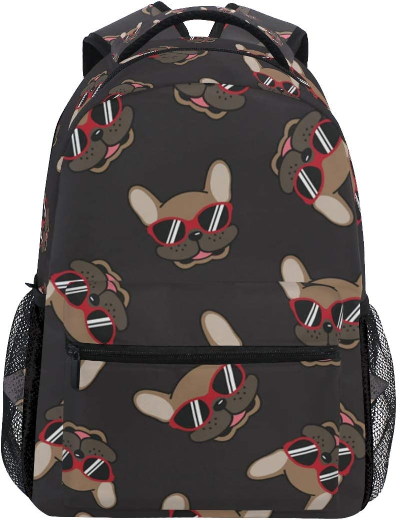 French Bulldog Smile Sunglasses Doodle Backpack School Bag Travel Daypack