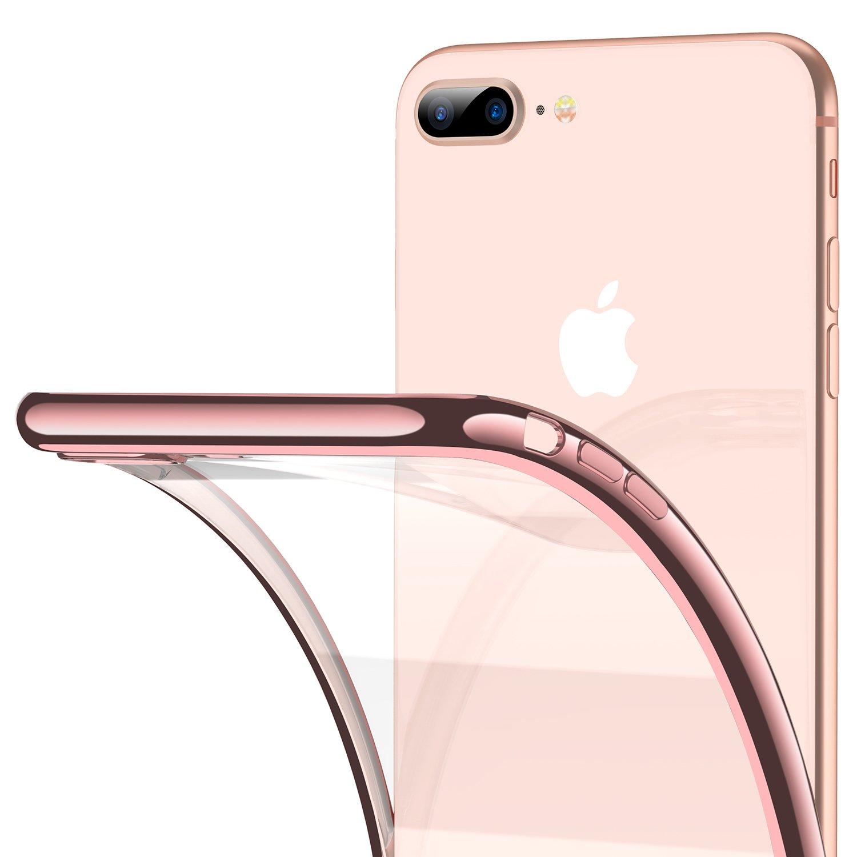 the best attitude 56aa8 fa245 RANVOO iPhone 8 Plus Case, iPhone 7 Plus Case, Ultra Slim Thin Clear Soft  Case with Premium Flexible Chrome Bumper and Transparent TPU Back Plate Gel  ...
