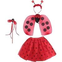 KESYOO Ladybug Wings Headband Toddler Child Girls Kids Tutu Skirt Fairy Wand Costume Princess Fancy Dress Up Party Bee…