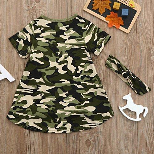 Lavany Baby Girls Dresses 2PC Camo Casual Dress Sundress+Headband Clothes Set