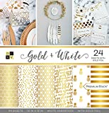 American Crafts Card Stock 12''X12'' Gold and White Premium Printed Cardstock Stack
