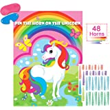 Pin The Horn On The Unicorn Party Game Large Unicorn Poster Games for Kids Unicorn Birthday Party Decorations, Rainbow Unicorn Party Supplies Unicorn Games