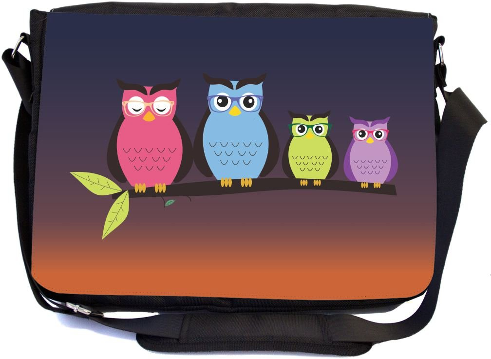 Rikki Knight Hipster Owl Family at Night with Colorful Glasses Design Multifunctional Messenger Bag - School Bag - Laptop Bag - Includes Matching Compact Mirror
