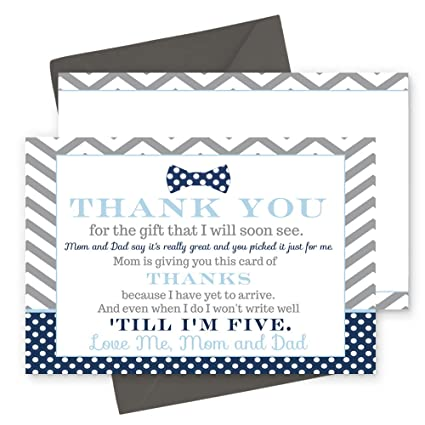 Amazon Com 15 Bow Tie Thank You Cards With Grey Envelopes