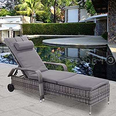 Premium Quality Adjustable Lounge Chaise Long Chair Furniture for Outdoor Deck Garden Beach Patio or Poolside. Mixed Coal Gray Color