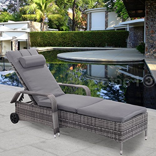 Premium Quality Adjustable Lounge Chaise Long Chair Furniture for Outdoor Deck Garden Beach Patio or Poolside. Mixed Coal Gray Color (Gloster Chaise Lounge)