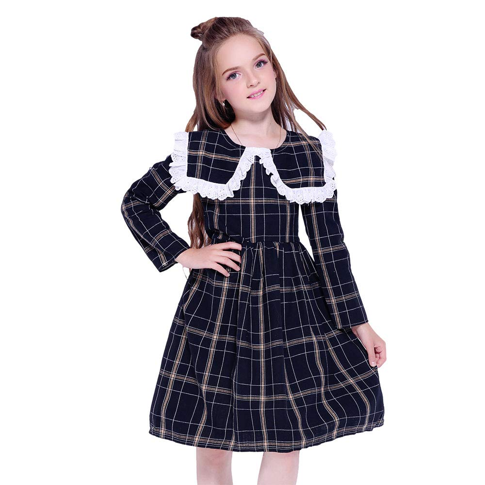 Victorian Kids Costumes & Shoes- Girls, Boys, Baby, Toddler Kseniya Kids Dresses for Girls Dress Long Sleeve Lace Plaid Baby Girl Dress Princess Girl Party Dress Infant Girls Clothes $18.70 AT vintagedancer.com