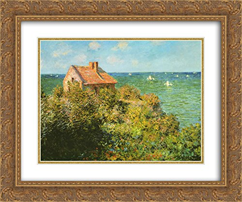 Fisherman's Cottage on The Cliffs at Varengeville, 1882 2X Matted 15x18 Gold Ornate Framed Art Print by Claude Monet