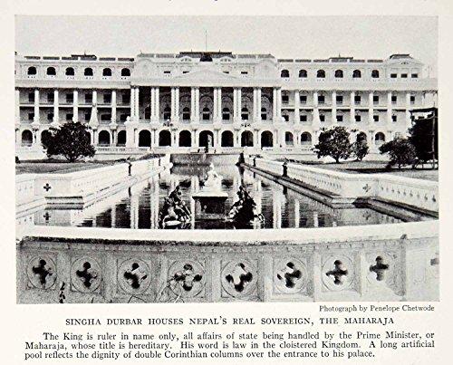 1935-print-singha-durbar-nepal-maharaja-kingdom-royalty-architecture-pool-ngma5-original-halftone-pr