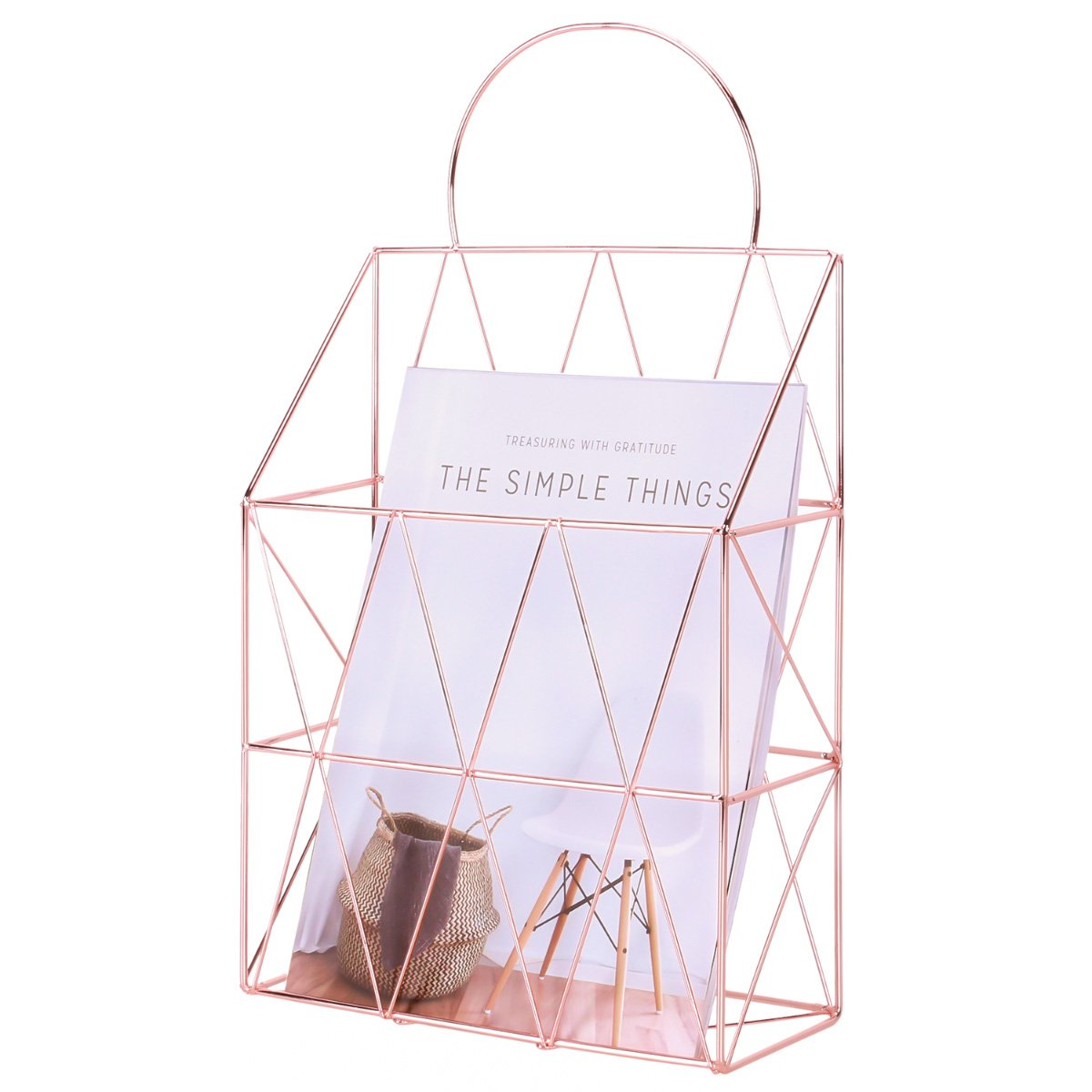 Simmer Stone Wall Mount Magazine Holder, Hanging File Basket Organizer with Handle, Decorative Desk Wire Storage Shelf for Book, Mail, Newspaper, Rose Gold