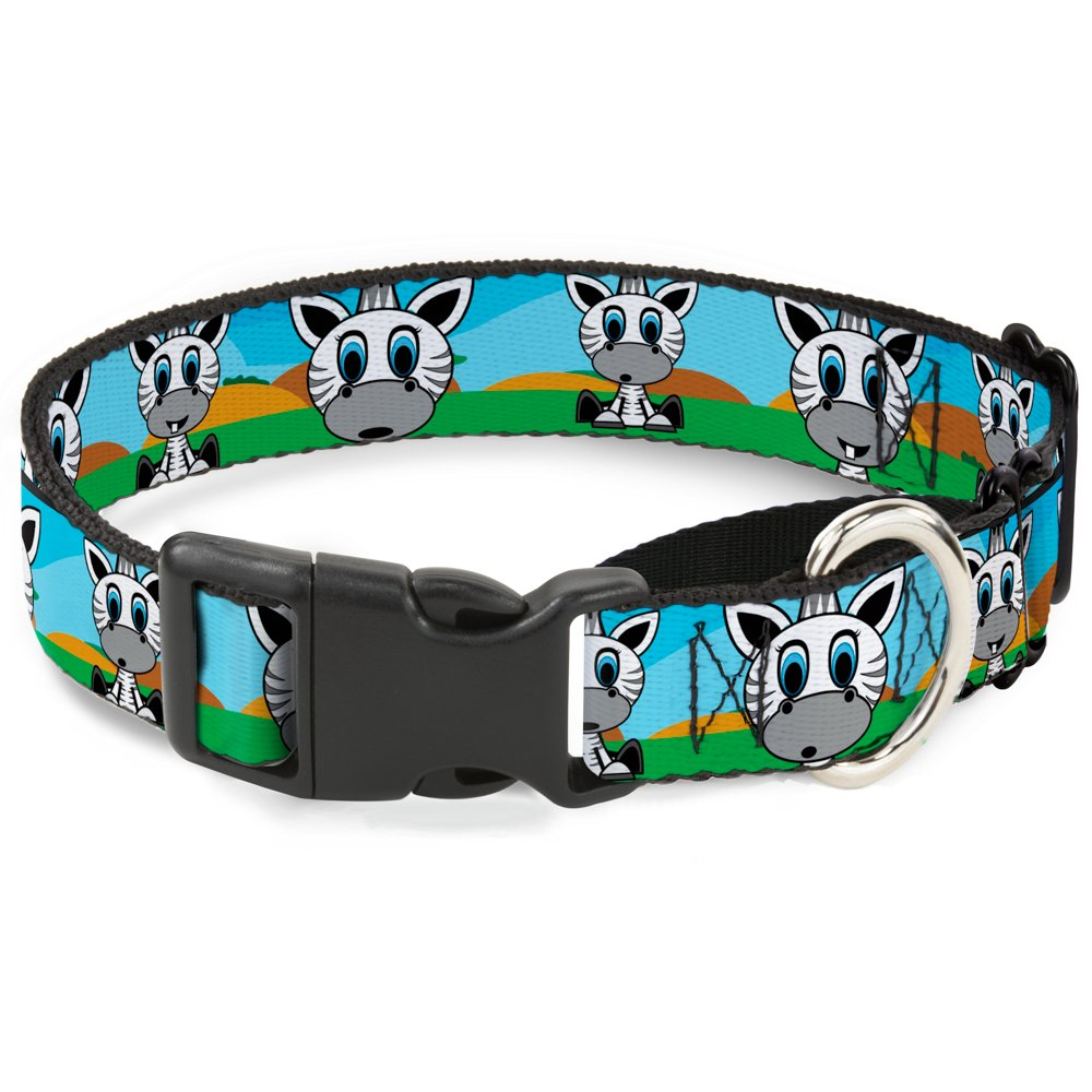 Buckle Down Zebra Cartoon Martingale Dog Collar, 1.5'' Wide-Fits 18-32'' Neck-Large