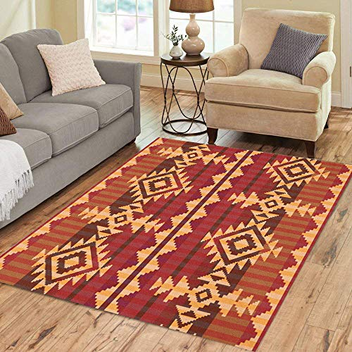 Semtomn Area Rug 3' X 5' Pattern Navajo Indian Aztec American Native Carpet Culture Traditional Home Decor Collection Floor Rugs Carpet for Living Room Bedroom Dining ()