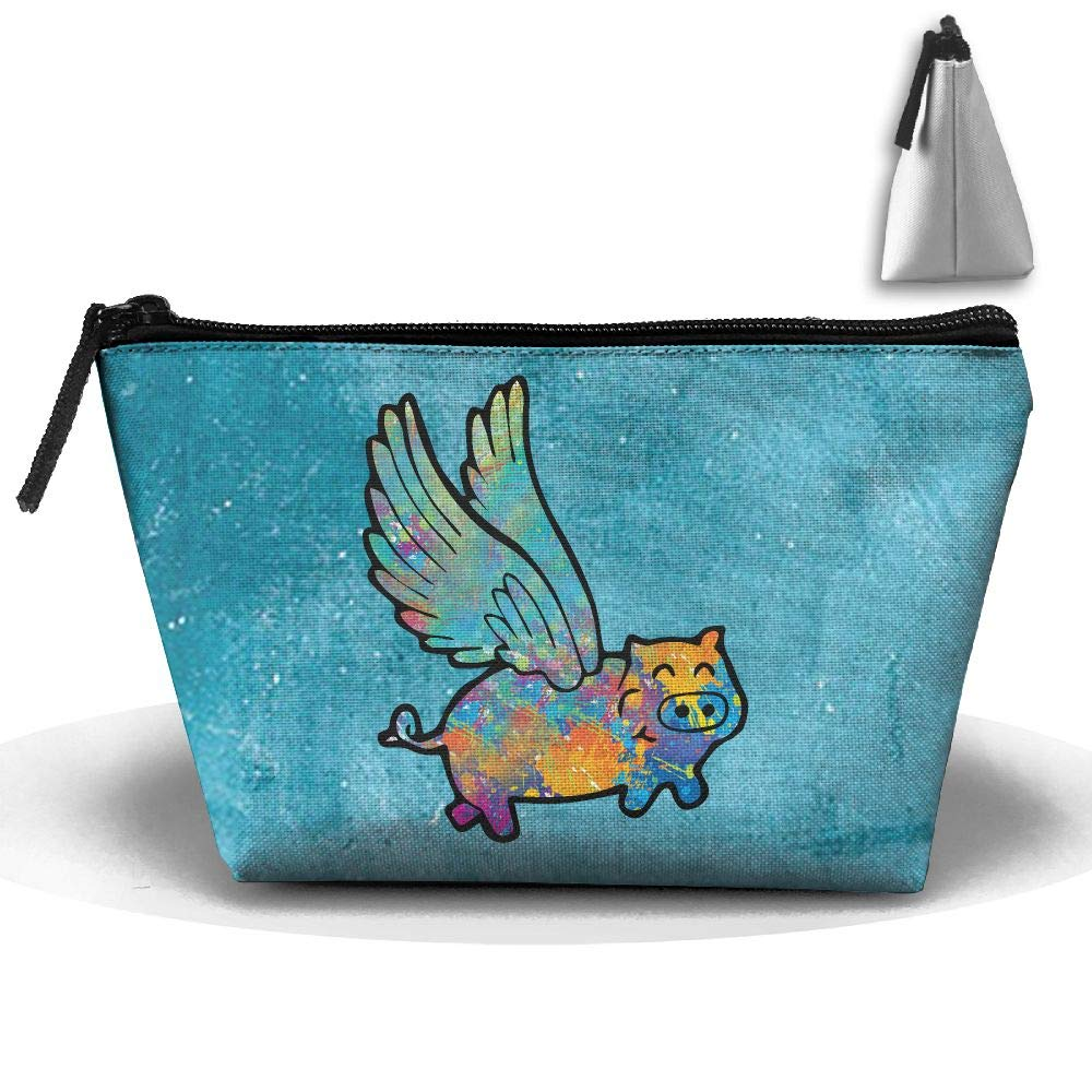 Louise Morrison Flying Pig Animal Watercolor Pen Stationery Pencil Case Cosmetic Makeup Bag Pouch