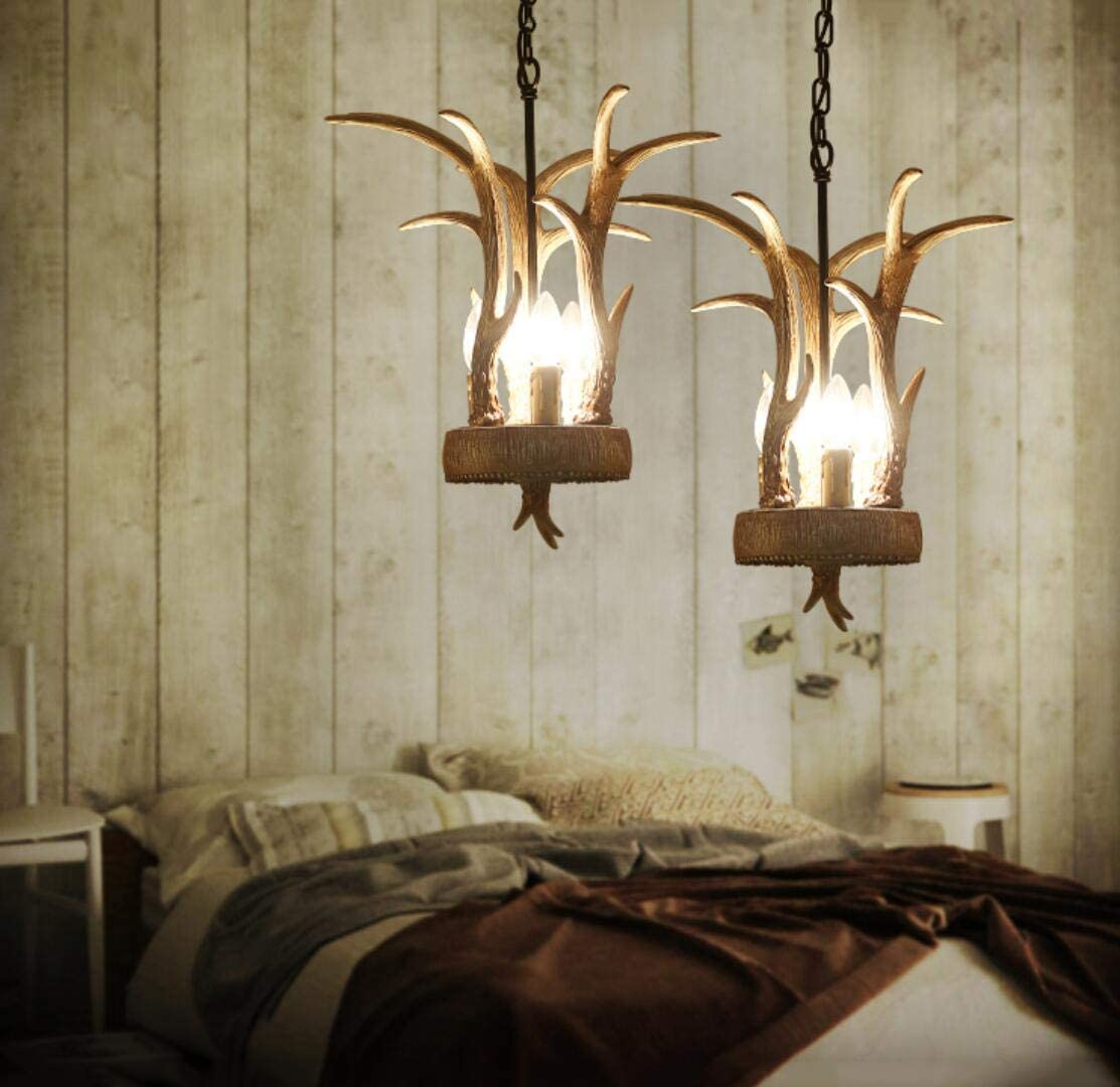 3-Light Mini Chandelier Antler Vintage Candle Bulbs Ceiling Light Fixture for Hallway,Kitchen,Island