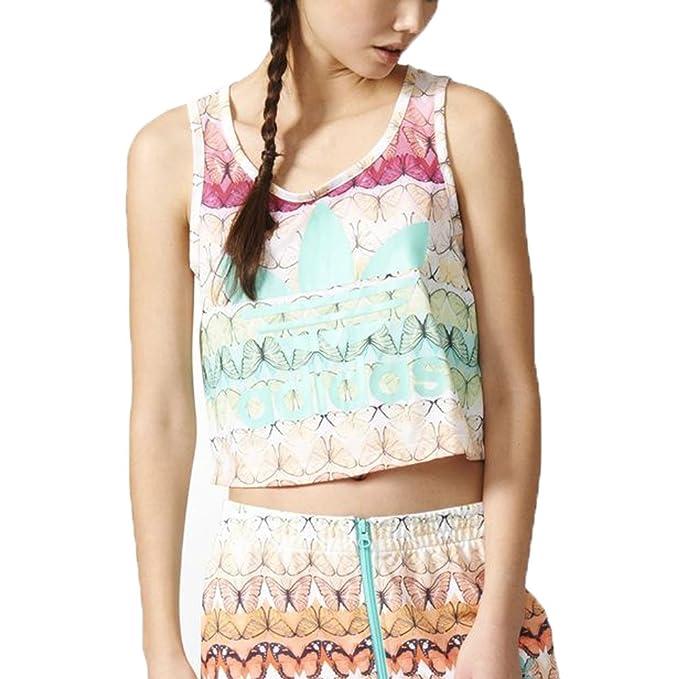 7cff15ba9 adidas Originals Multicoloured Borbofresh Loose Crop Tank Top at Amazon  Women's Clothing store: