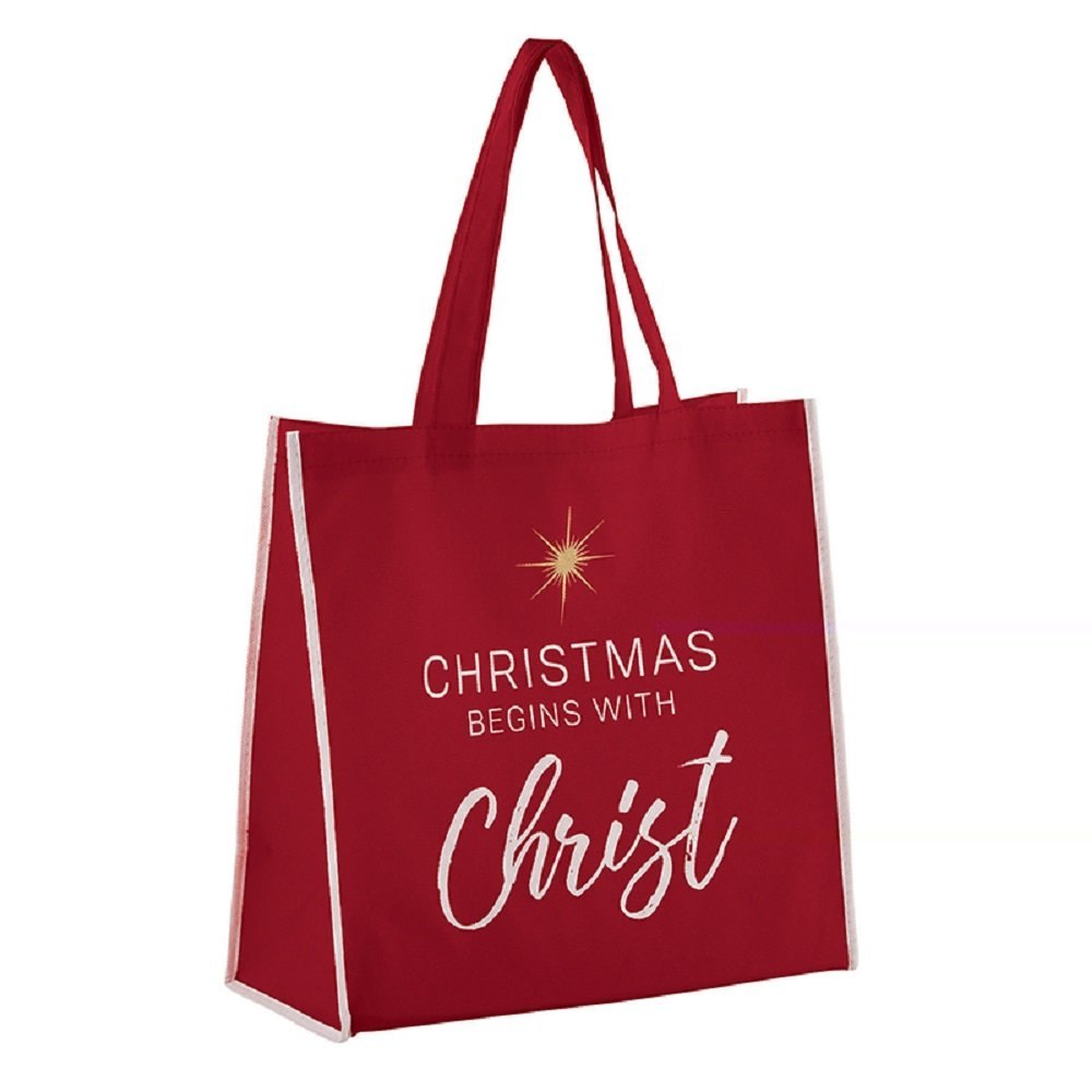 AT001 Pack of 12 Christmas Begins With Christ Tote Bags, 13'' W x 13'' H x 6'' D.