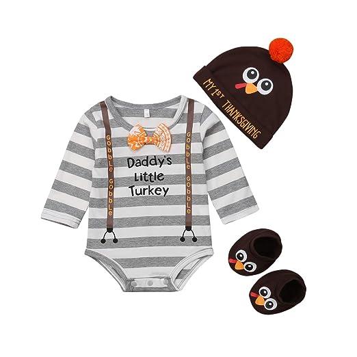 647b50f6412 Newborn Infant Baby Boy 3pcs Thanksgiving Outfit Daddy s Little Turkey Long  Sleeve Romper Turkey Hat Socks