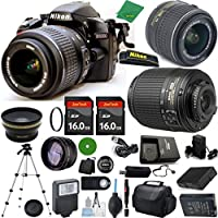 Nikon D3200 - International Version (No Warranty), 18-55mm f/3.5-5.6 DX VR, Nikon 55-200mm f4-5.6G ED DX, 2pcs 16GB Memory, Case, Wide Angle, Telephoto, Battery, Charger