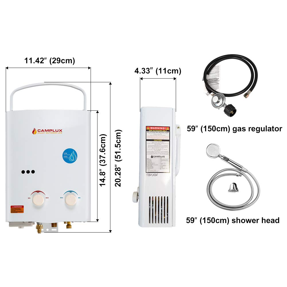 Calentador de agua Camplux para exteriores, de propano, 5con regulador de CE, 5 L: Amazon.es: Bricolaje y herramientas