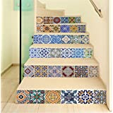 Backsplash Tile Stair Stickers, DIY Mexican Talavera Tile Decor Traditional Tile Decals for Stairs Bathroom Kitchen, Waterproof Peel and Stick Home Decor StairCase Mural, 18 x 100cm x 6 Pcs