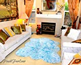 Fur Accents Faux Fur Six Pelt Sheepskin Throw Rug Plush Baby Blue and White Shaggy Shag Nursery Area Toss Carpet (3' x 5' feet)